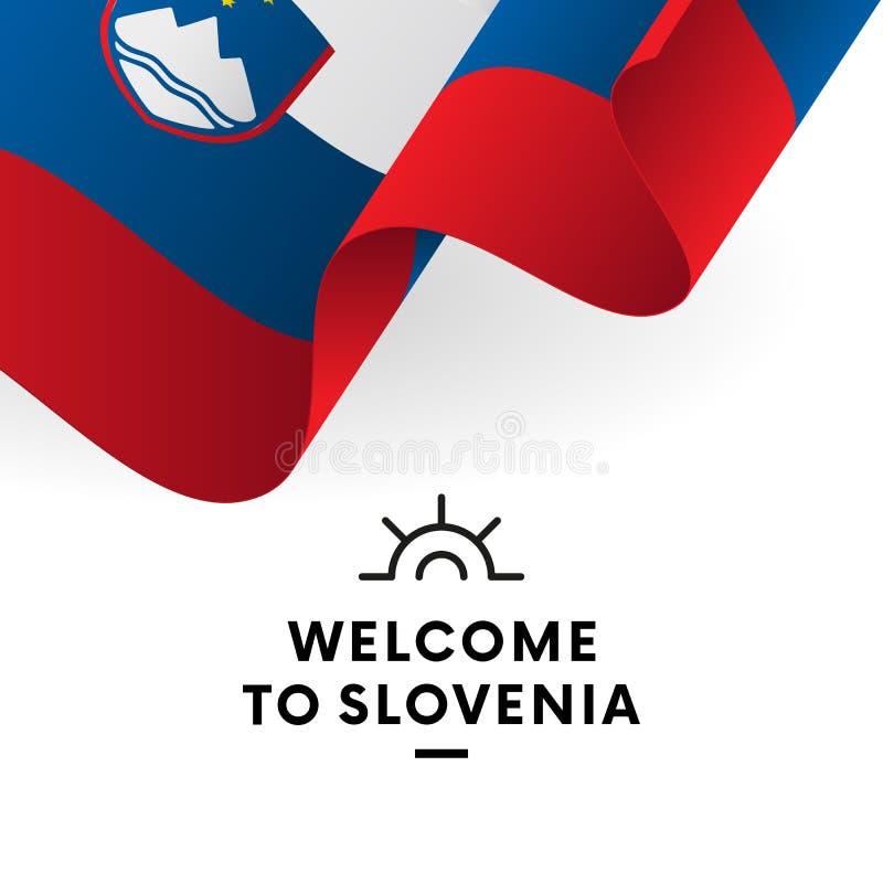 Powitanie Slovenia Slovenia flaga Patriotyczny projekt wektor ilustracji