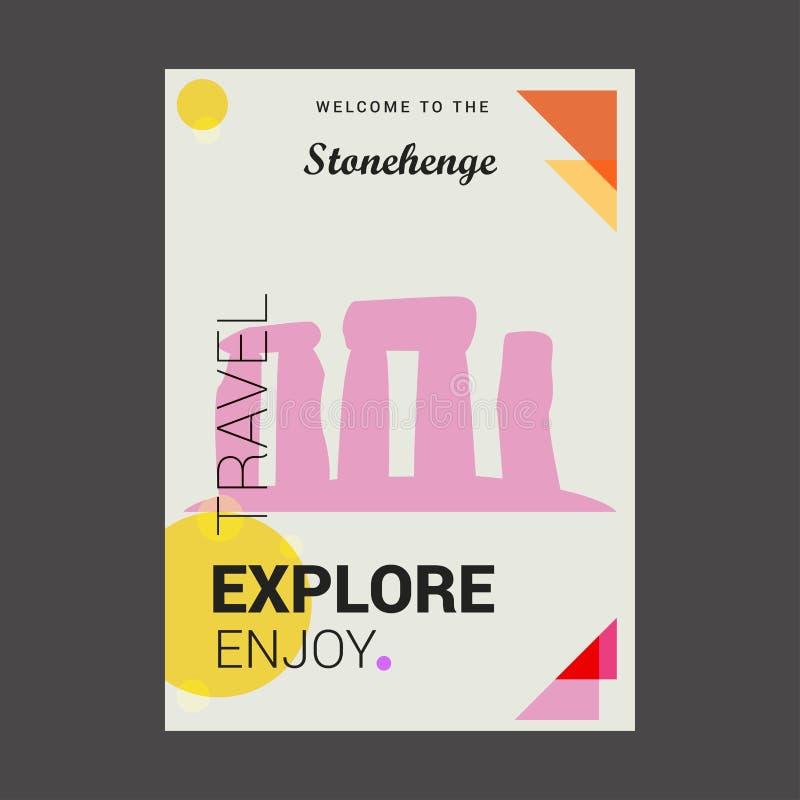 Powitanie Stonehenge Wiltshireâ⠂¬Å ½, Anglia Bada, Tra royalty ilustracja