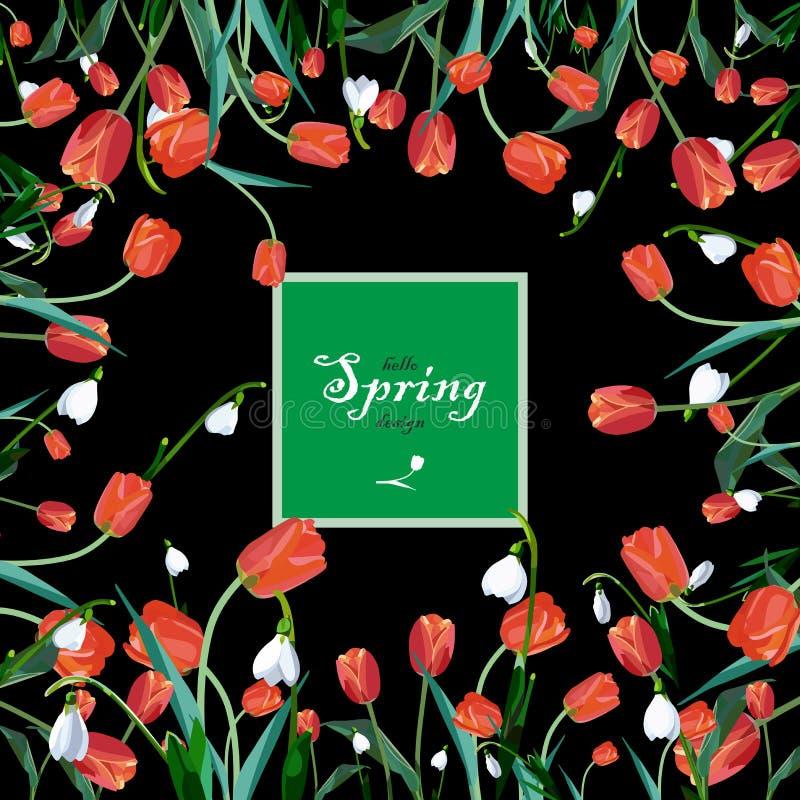 powitanie sztandar z wiosna kwiatami fotografia stock