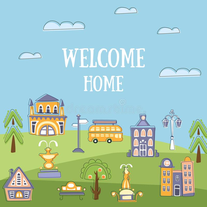 Powitanie sztandaru Domowy szablon, lato Miastowy krajobraz z Śliczna ręka Rysującymi Jawnymi budynkami i miasto ulicą, zaproszen ilustracja wektor