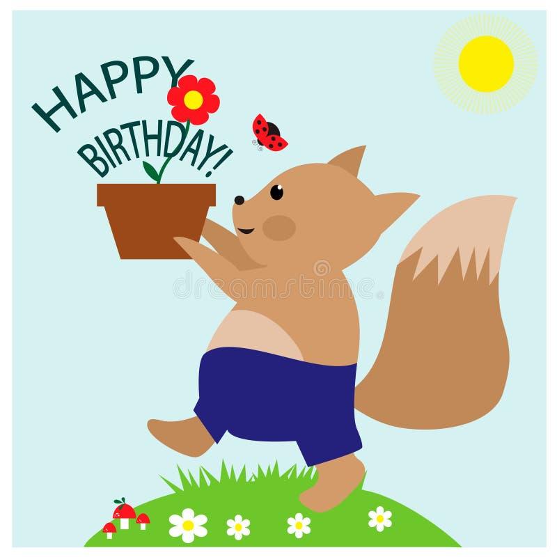 Powitanie Urodzinowa karta z śliczną małą wiewiórką z kwiatu garnkiem ilustracja wektor