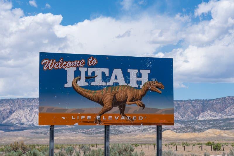 Powitanie Utah pobocza znak zdjęcie royalty free