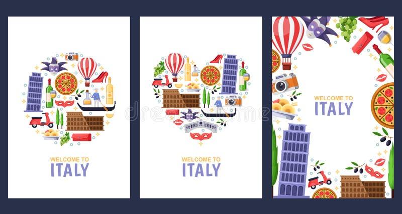Powitanie Włochy powitania pamiątki karty, druk lub plakatowy projekta szablon, Podróż Roma i Wenecja mieszkanie ilustracja ilustracji