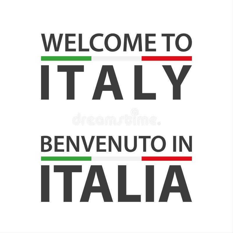 Powitanie Włochy symbol z flagą, prosta nowożytna Włoska ikona odizolowywająca na białym tle royalty ilustracja