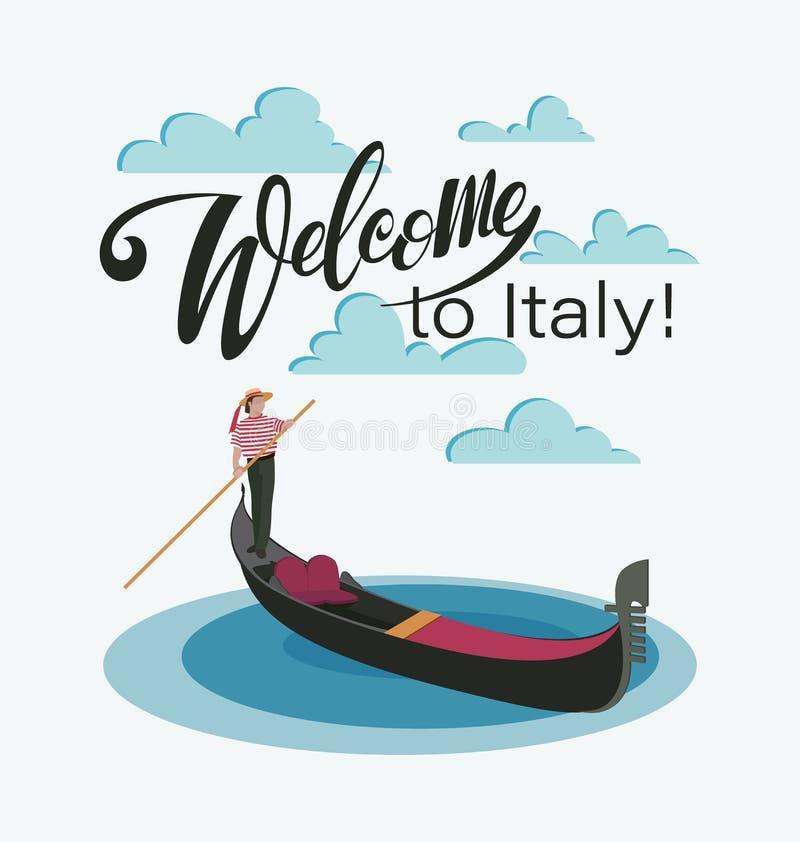 Powitanie Włochy, Wenecja Wenecka gondola i gondolier ilustracji