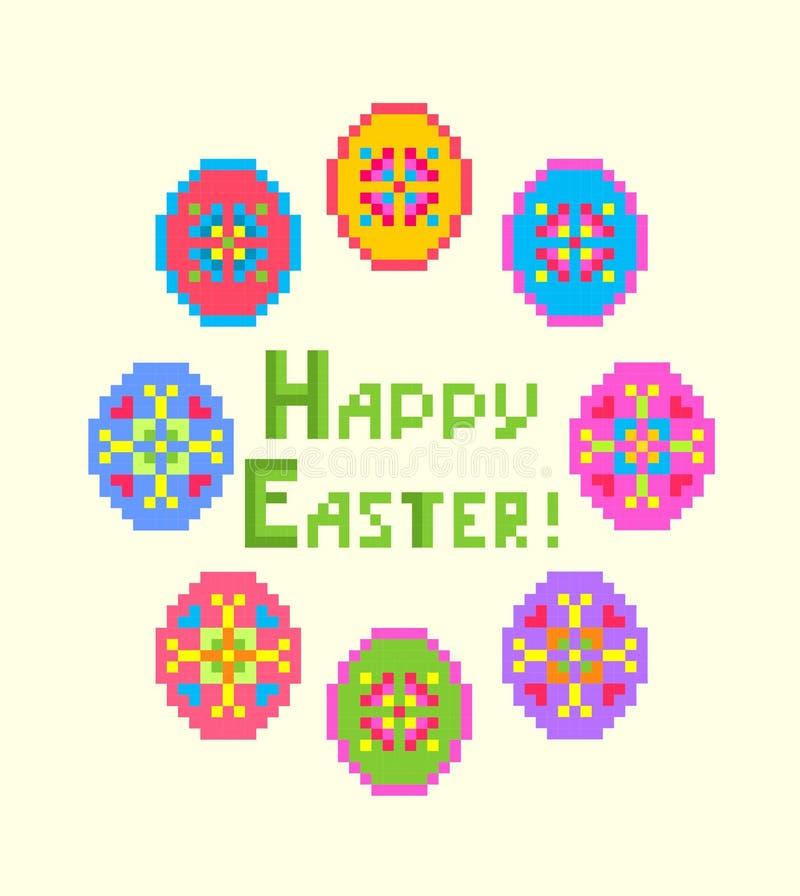 Powitanie Wielkanocna broderia z Szczęśliwym Wielkanocnym literowaniem i kolorowymi jajkami ilustracji
