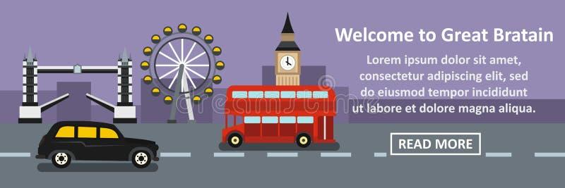 Powitanie wielkiego Britain sztandaru horyzontalny pojęcie ilustracja wektor