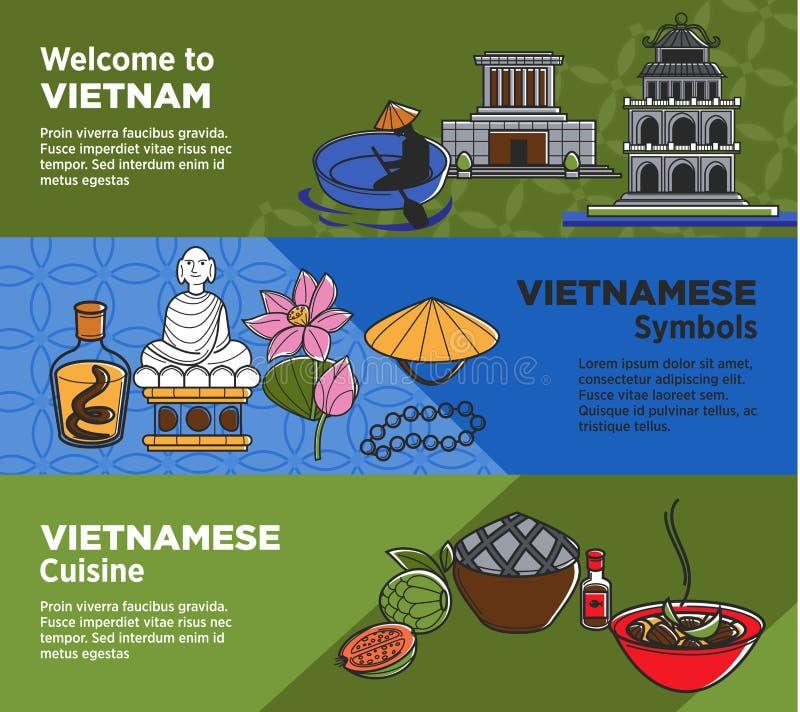 Powitanie Wietnam promocyjni sztandary z krajowymi symbolami i kuchnią ilustracji