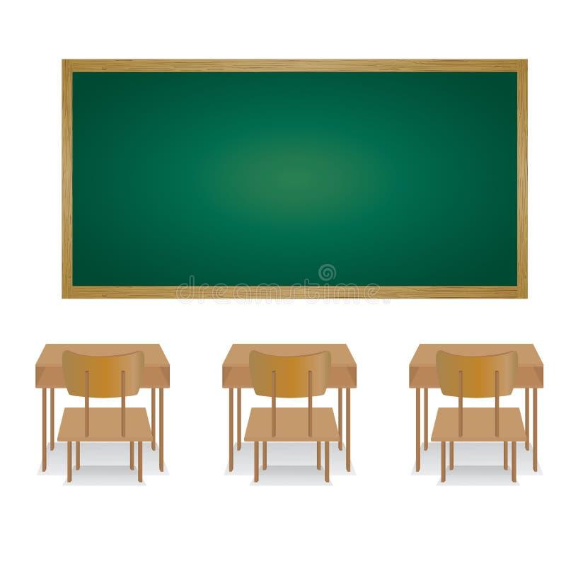 Powitanie z powrotem szkoła i sala lekcyjna 3d sala lekcyjnej pojęcia edukaci pusta ilustracja odpłaca się royalty ilustracja