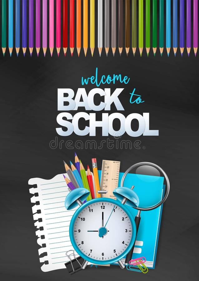 Powitanie z powrotem szkoła kolorowy plakat Edukacji ulotka dla reklamy, magazyn, książkowa pokrywa, strona internetowa Stos mate ilustracji