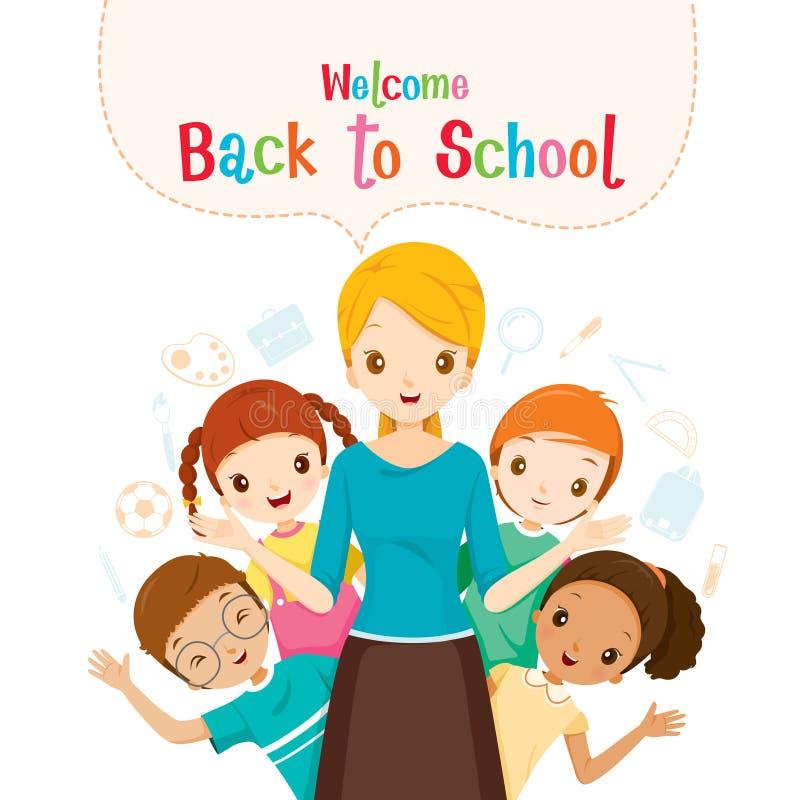 Powitanie Z powrotem szkoła, nauczyciel, uczeń I ikony, ilustracja wektor