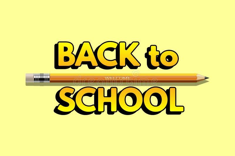 Powitanie z powrotem szkoła projekta szablon Wektorowy realistyczny ołówek z mile widziany słowem na jasnożółtym tle z plecy ilustracji