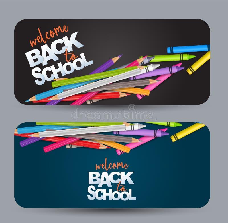Powitanie z powrotem szkoła projekta sztandaru karta z realistycznymi kolorowymi ołówkami i kredkami ilustracja wektor
