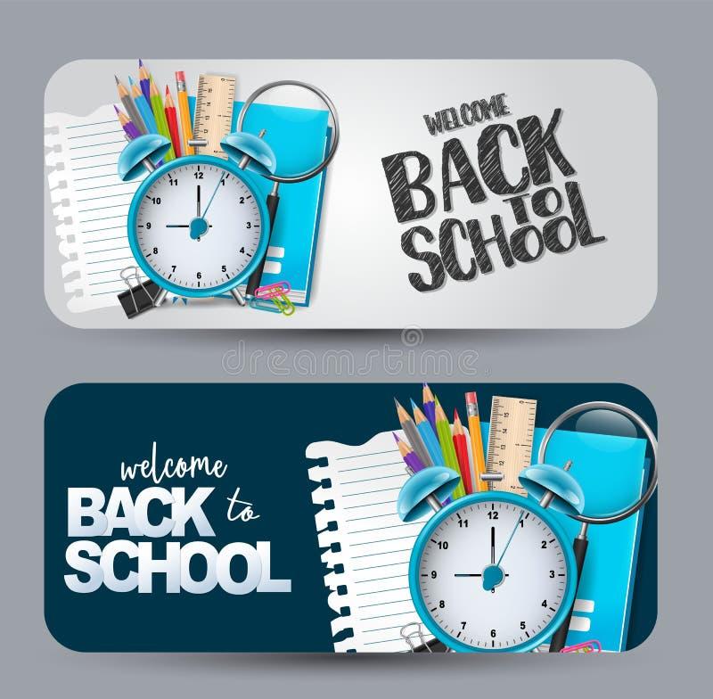 Powitanie z powrotem szkoła - set sztandar z zaokrąglonymi krawędziami ilustracji