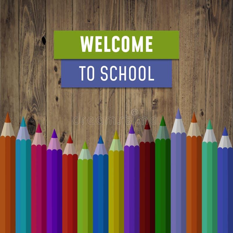 Powitanie z powrotem szkoła, wektorowa ilustracja ilustracji