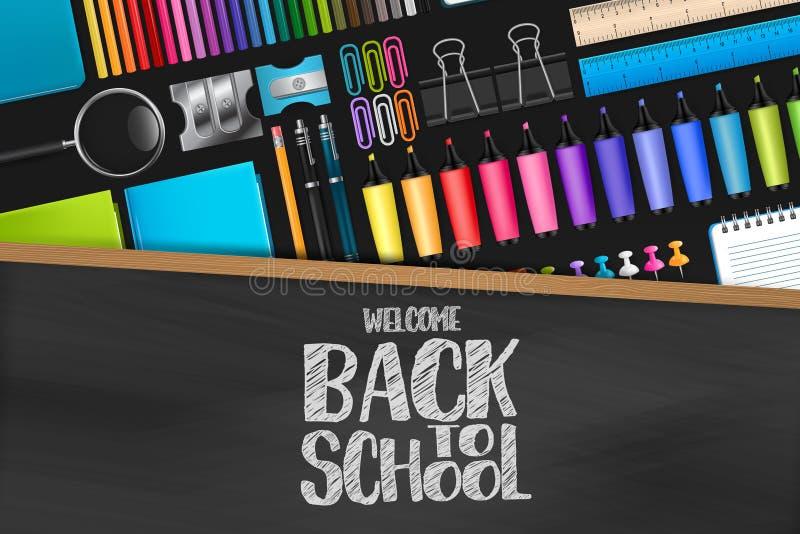 Powitanie z powrotem szkoła znak na blackboard z drewnianą ramą Kolorowy materiały na ciemnym tle ilustracja wektor