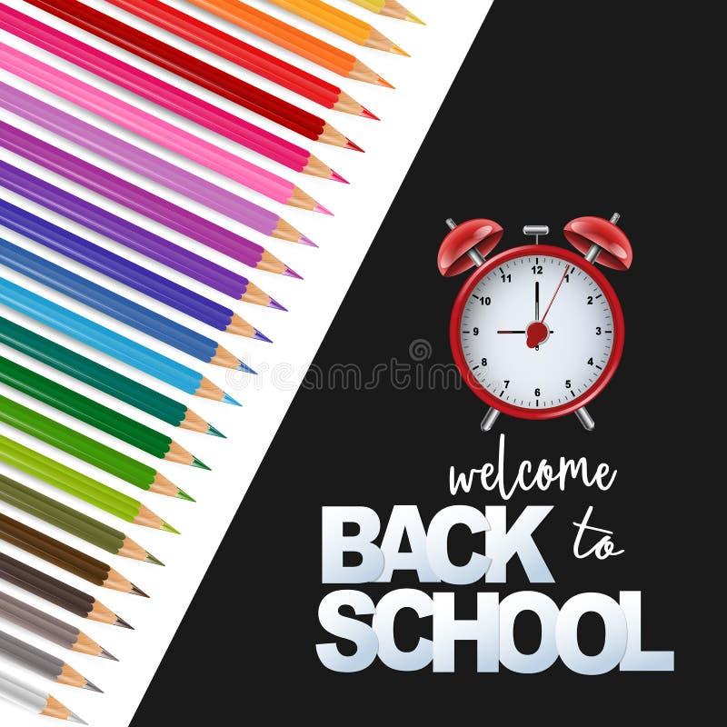 Powitanie z powrotem szkoły karta z czarny i biały tłem, jaskrawymi coloful ołówkami i czerwieni alarmowym czernią, royalty ilustracja