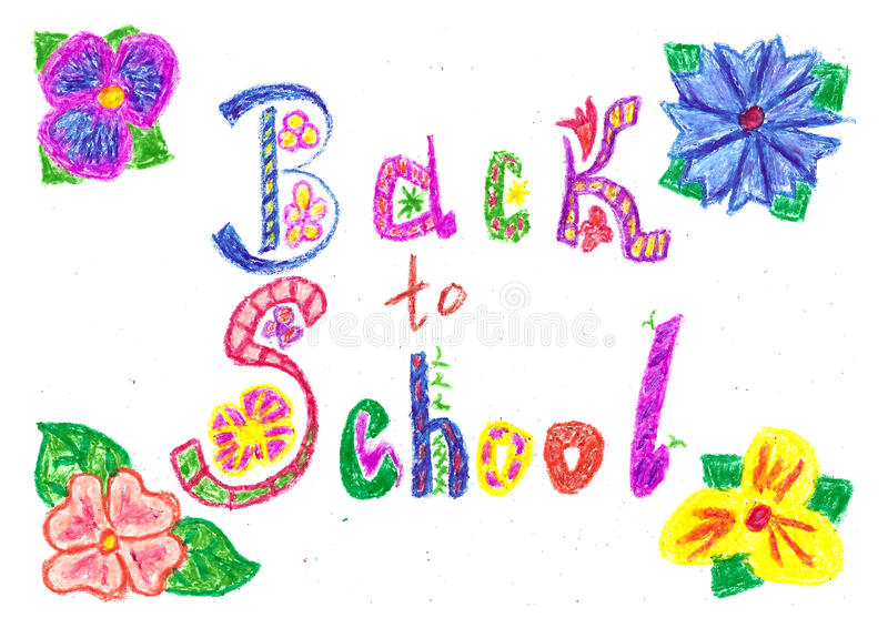 Powitanie z powrotem szkoły tło rysujący z barwionymi wosków ołówkami ilustracja wektor