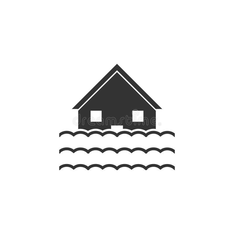Powodzi ikony mieszkanie ilustracji