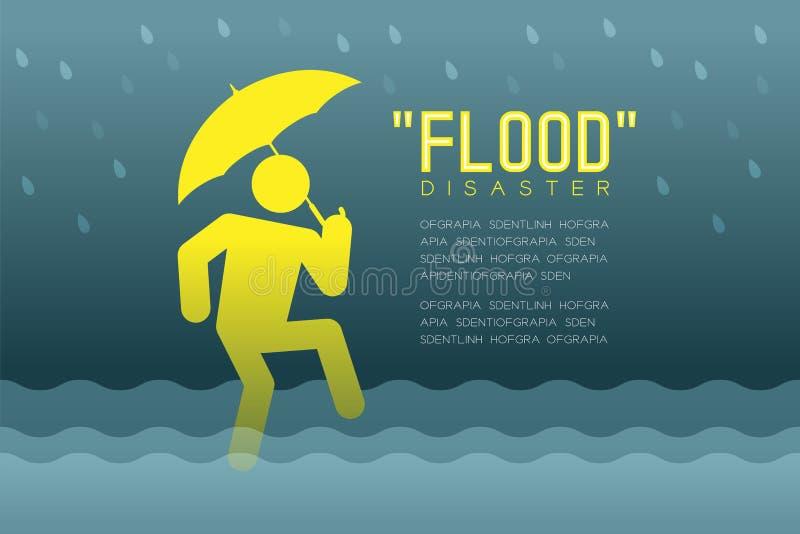 Powodzi katastrofa mężczyzna ikon piktogram z parasolowego projekta infographic ilustracją ilustracji
