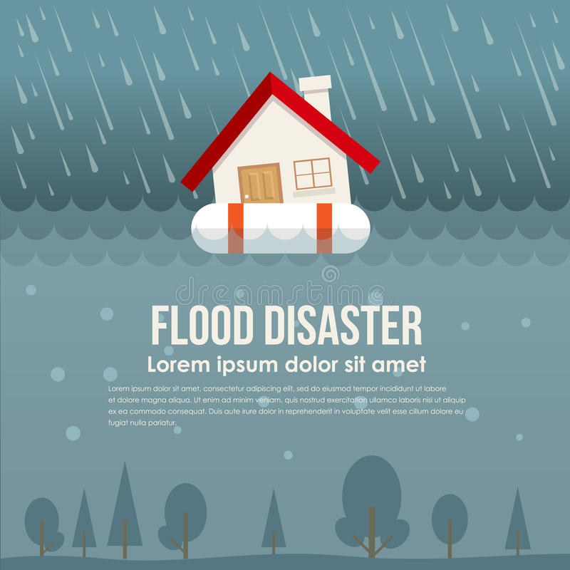 Powodzi katastrofa z domem na życie pierścionku w wody powodziowej i deszczu wektorowym projekcie royalty ilustracja