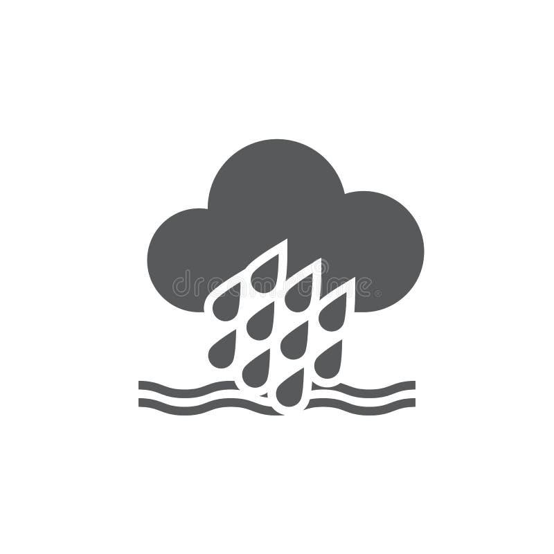 Powodzi pogodowa ikona odizolowywająca na białym tle również zwrócić corel ilustracji wektora ilustracja wektor