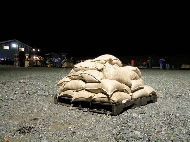 powodzi, worki z piaskiem stan Waszyngton fotografia stock