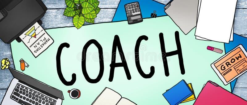Powozowy trenowanie przewdonika instruktora lidera kierownika adiunkta pojęcie ilustracji