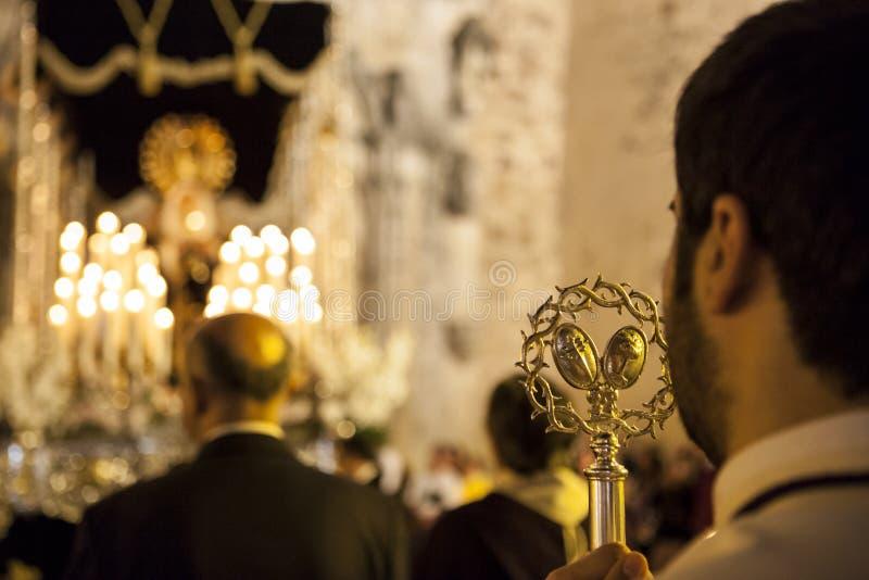 Powrót Świętego tygodnia pławik kościelny, Święty tydzień, Hiszpania obraz stock