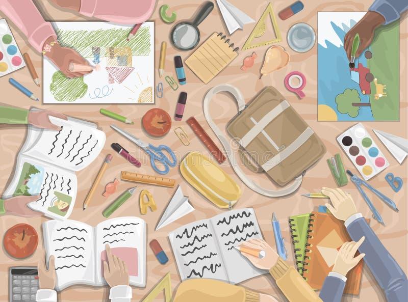 Powrót do szkoły, przedszkola, dzieciństwo royalty ilustracja