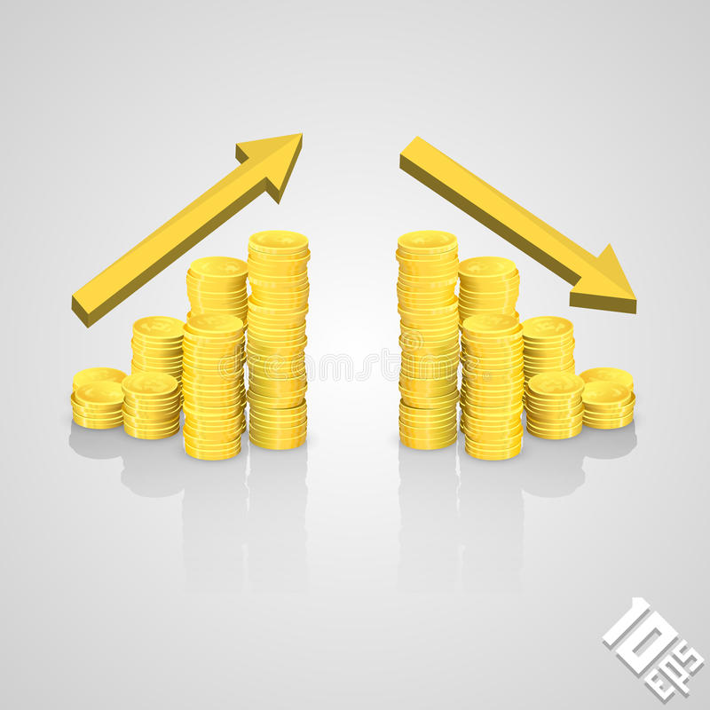 Powstająca sterta monety royalty ilustracja