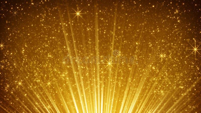 Powstające złociste cząsteczki w lekkich promieniach ilustracji
