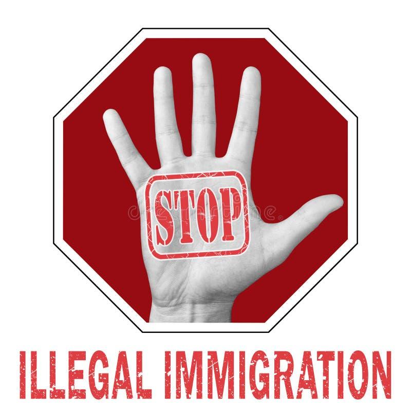 Powstrzymanie nielegalnej imigracji Otwarta ręka z tekstem: 'Zatrzymać nielegalną imigrację' obraz royalty free