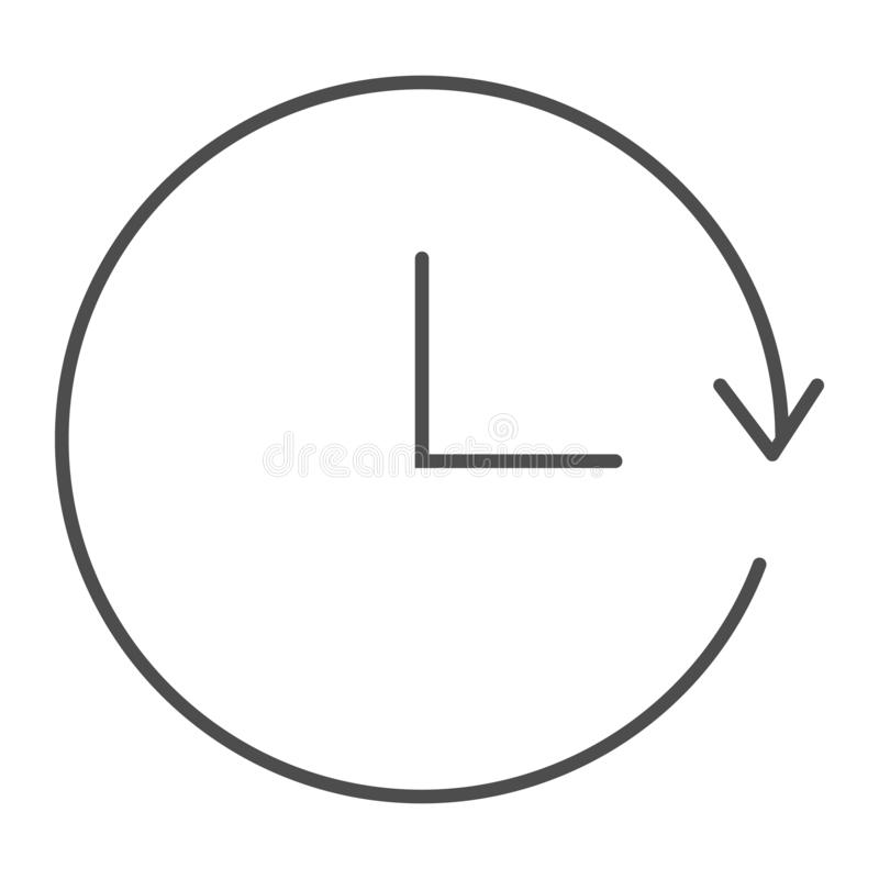 Powtórka czasu cienka kreskowa ikona Przeładowywa czas wektorową ilustrację odizolowywającą na bielu Kółkowy czasu konturu stylu  royalty ilustracja