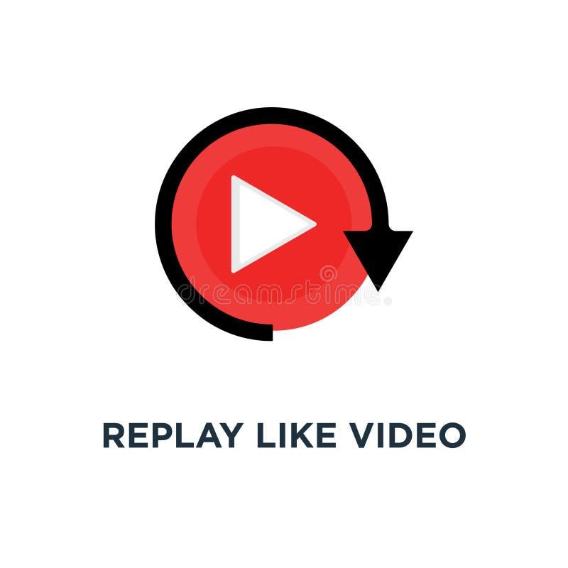 powtórka jak wideo sztuka guzika ikona, symbol dopatrywanie na lać się odtwarzacz wideo lub livestream ui emblemata webinar pojęc ilustracja wektor