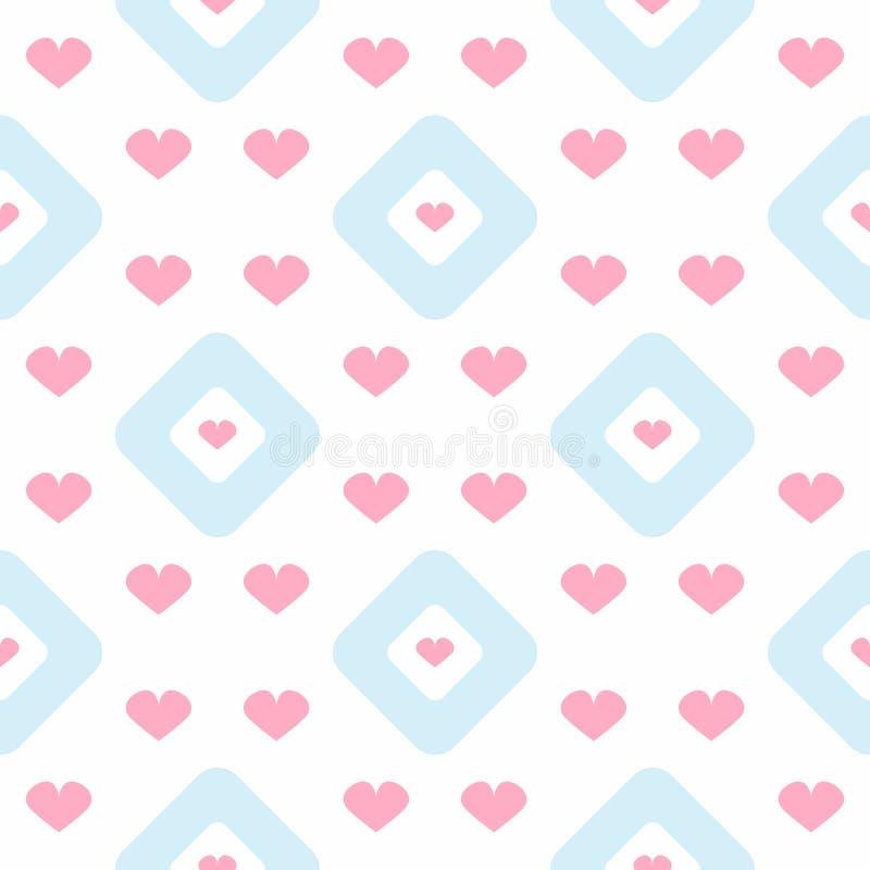 Powtórkowi serca i rhombuses deseniowy romantyczny bezszwowy royalty ilustracja