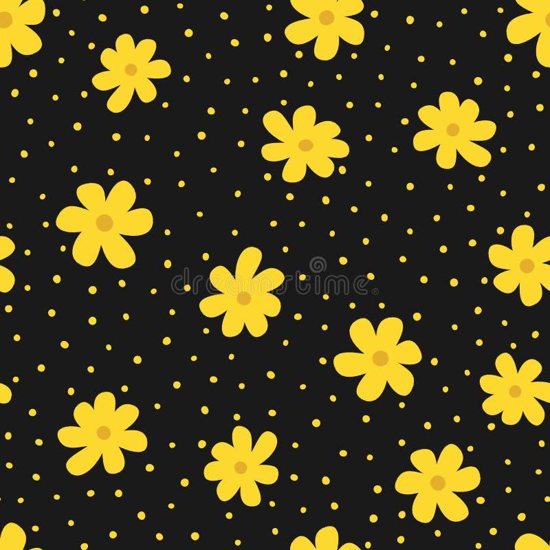 Powtarzać kwiaty i nieregularną polki kropkę Kwiecisty bezszwowy wzór dla kobiet ilustracja wektor