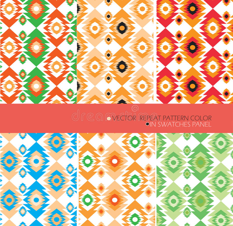 Powtarza deseniowego nowożytnego graficznego wektor ustawia 6 kolorów aztec tło ilustracja wektor