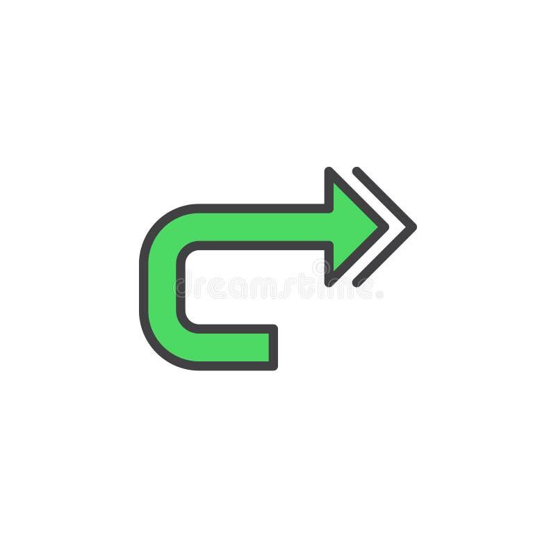 Powtarza kreskową ikonę, wypełniający konturu wektoru znak, liniowy kolorowy piktogram odizolowywający na bielu ilustracji