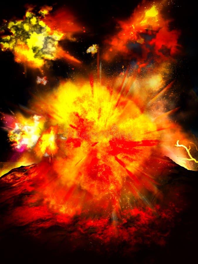 Powulkaniczna erupcja na wyspie royalty ilustracja