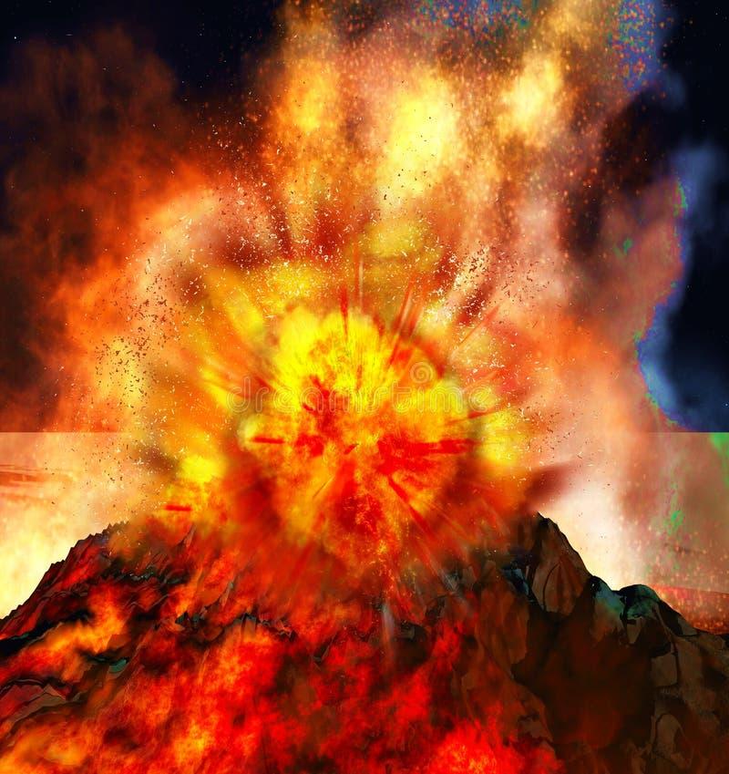 Powulkaniczna erupcja na wyspie ilustracji