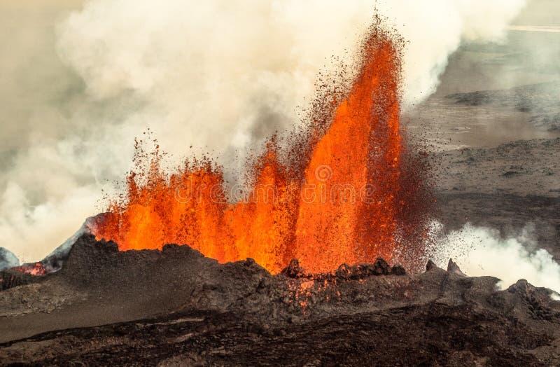 Powulkaniczna erupcja w Holuhraun Iceland (2014) zdjęcie royalty free