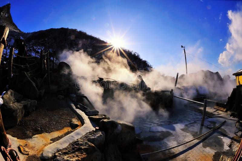 powulkaniczna owakudani dolina zdjęcie stock