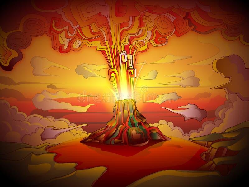 powulkaniczna projekt erupcja ilustracja wektor