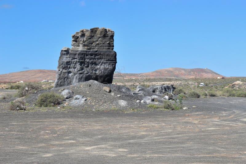 Powulkaniczny głaz na Lanzarote, wyspy kanaryjska, Hiszpania fotografia royalty free