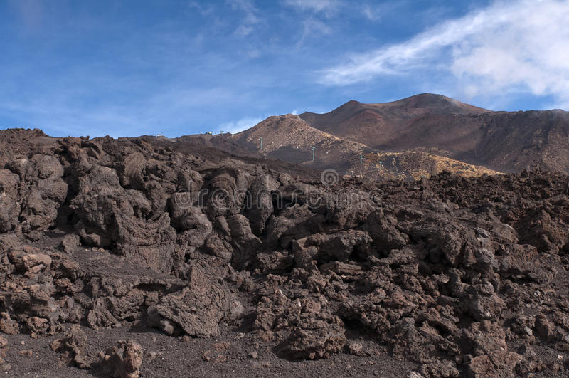 Powulkaniczny krajobraz, Góra Etna, Sicily zdjęcia royalty free