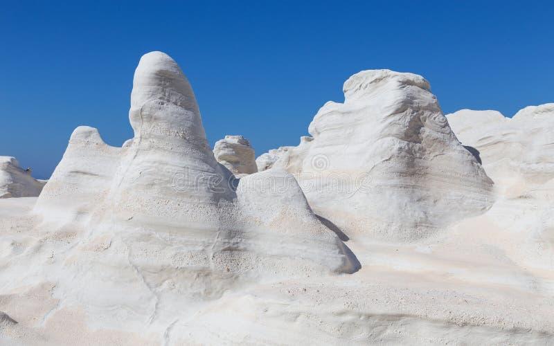 Powulkaniczny moonscape Sarakiniko, Milos wyspy, Cyclades, Grecja zdjęcia royalty free