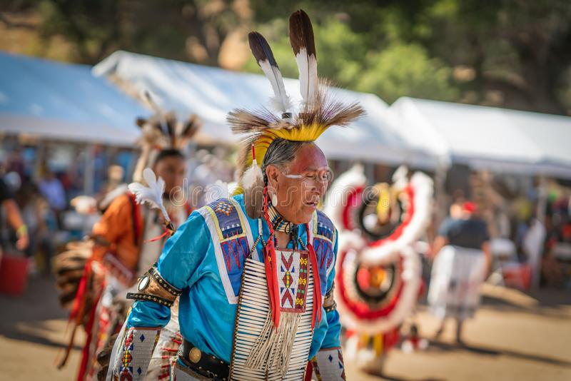 Powwow. Greg Red Elk, Close up portrait of Native American in full Regalia. Live Oak Campground, Santa Barbara, CA/USA - October 5, 2019 2019 royalty free stock photos
