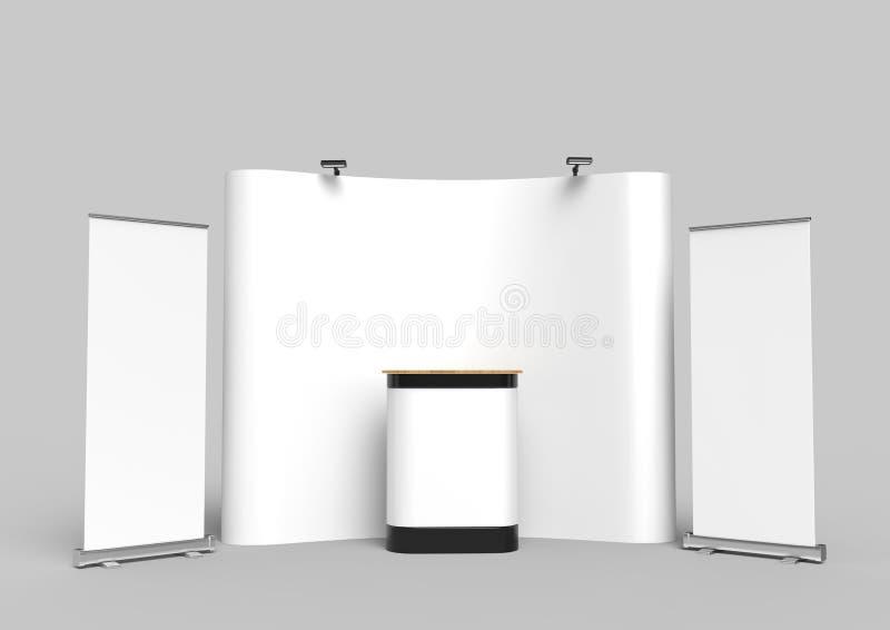 Powystawowy napięcie tkaniny pokazu sztandaru stojaka tło dla wystawy handlowa reklamy stojaka z DOWODZONEGO LUB fluorowa światłe ilustracja wektor