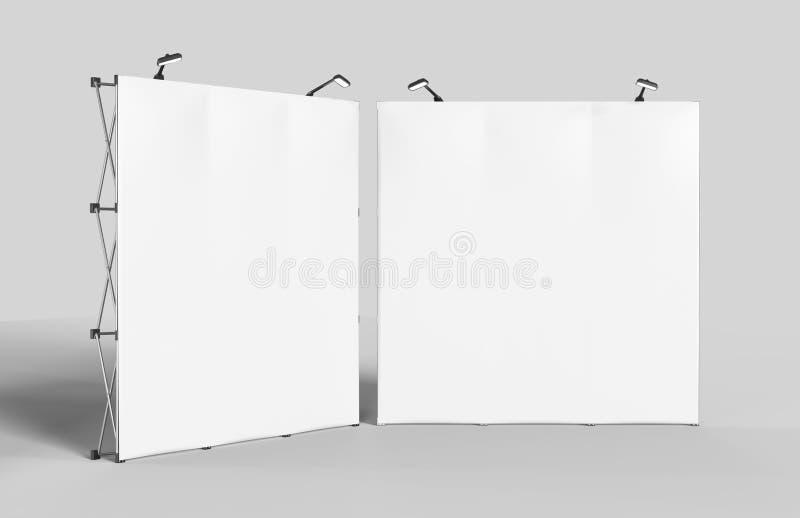 Powystawowy napięcie tkaniny pokazu sztandaru stojaka tło dla wystawy handlowa reklamy stojaka z DOWODZONEGO LUB fluorowa światłe obrazy stock